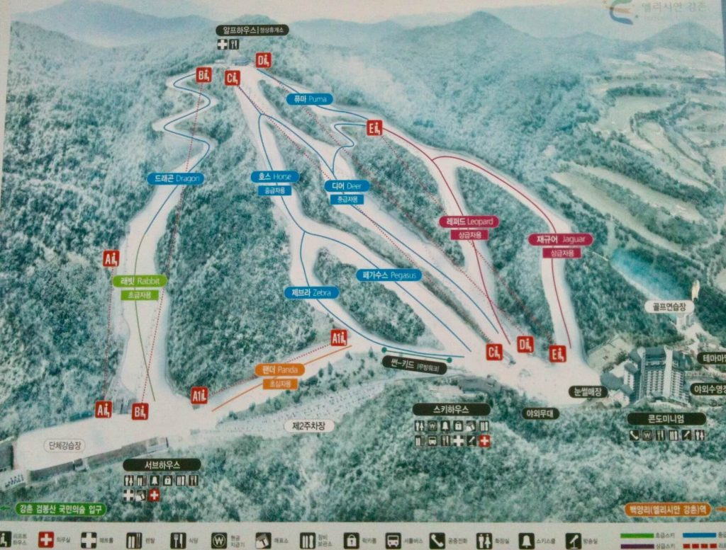 Elysian Gangchon piste map