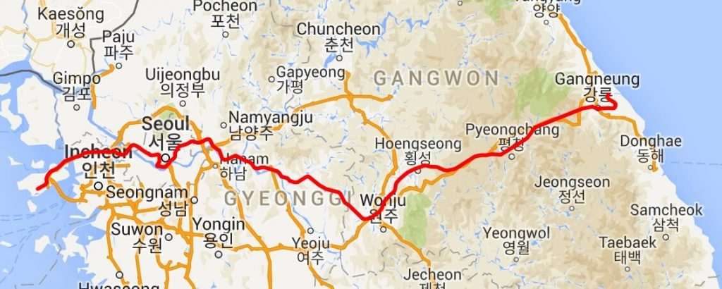 Map showing the route of the Gangneung KTX