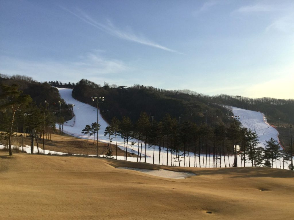 Ski slopes and golf course at Oak Valley Resort