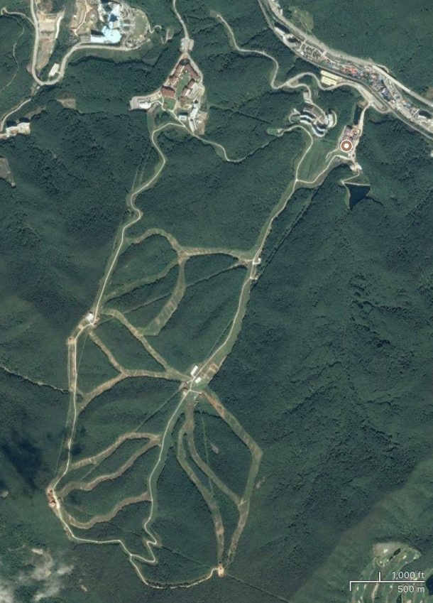 Satellite view of High1 ski resort, Korea