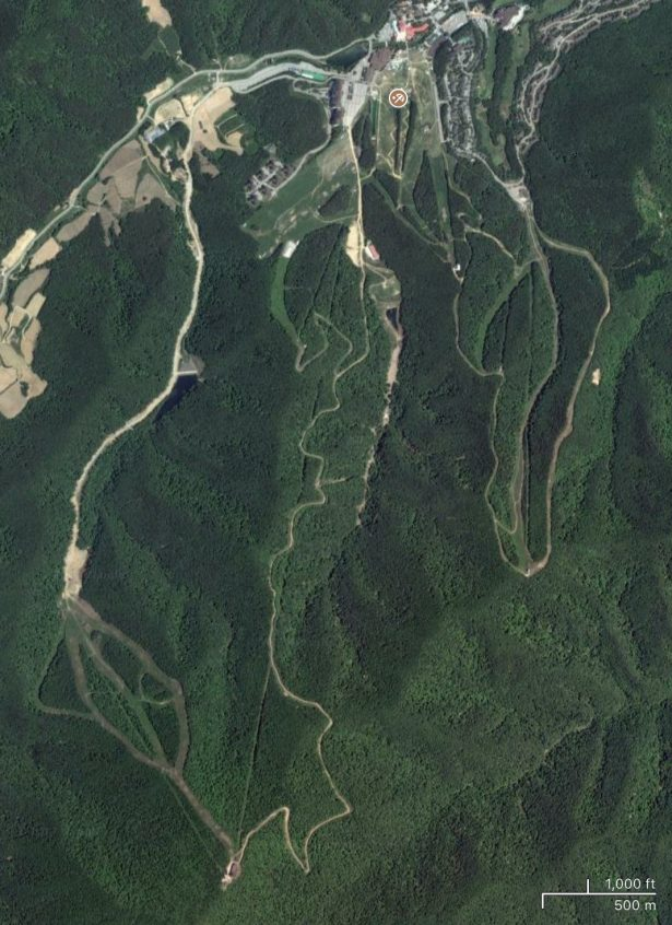 Satellite view of Yongpyong ski resort, Korea