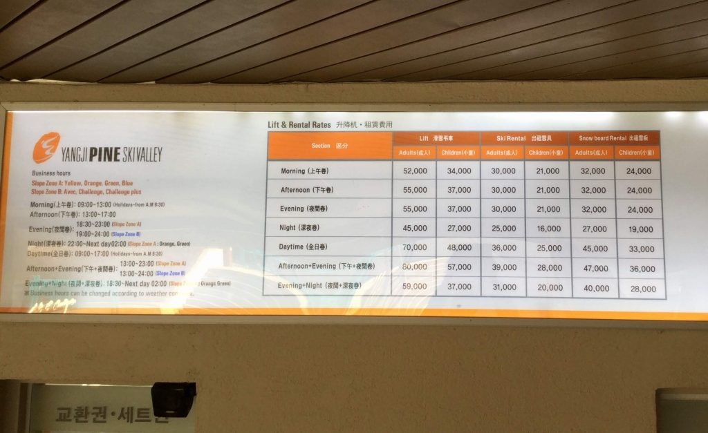 Yangji Pine lift ticket rates