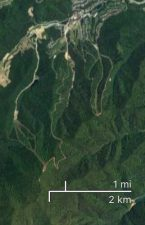 Satellite view terrain map of Yongpyong