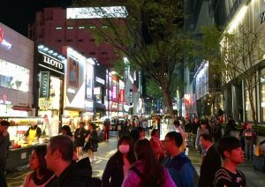 Shops & food stalls in Myeongdong