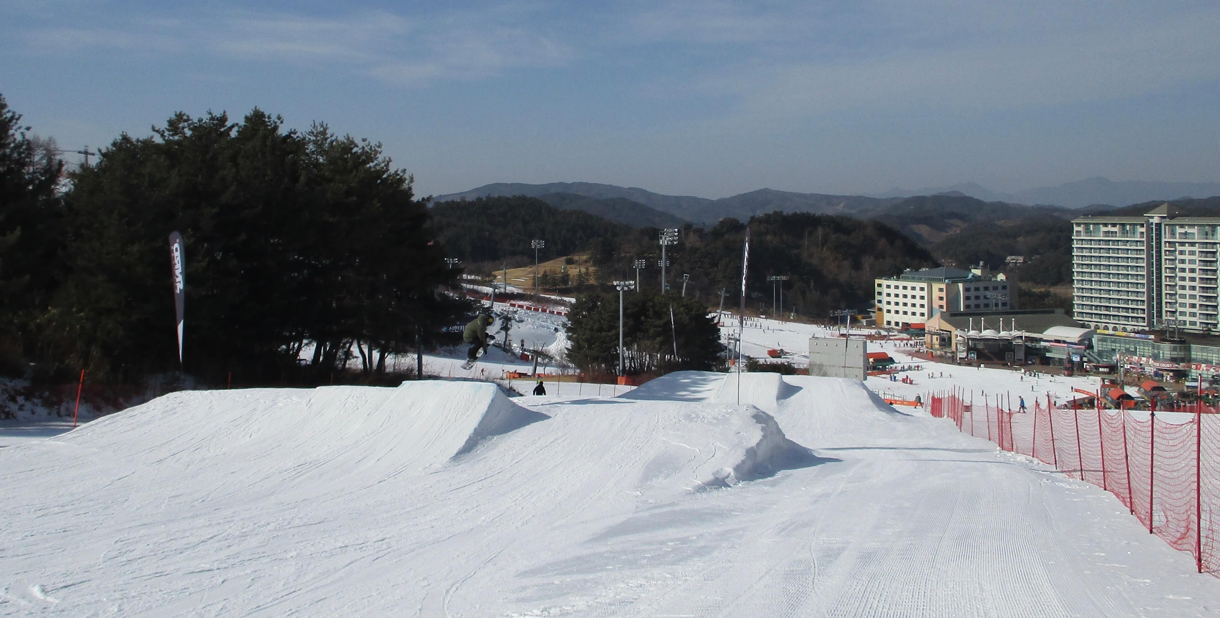 Snowboard jumps at Welli Hilli Park, Korea